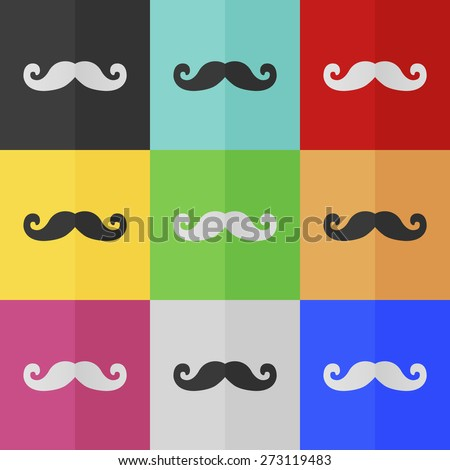 Mustaches vector icon - colored set. Flat design - stock vector