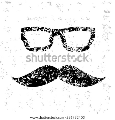 Mutache design on old paper,grunge vector - stock vector