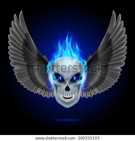 Mutant skull with blue flame and raised wings - stock vector