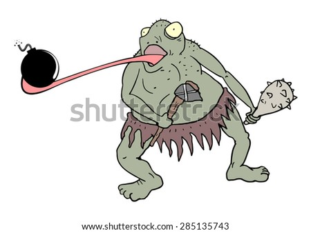 mutant toad with bomb - stock vector