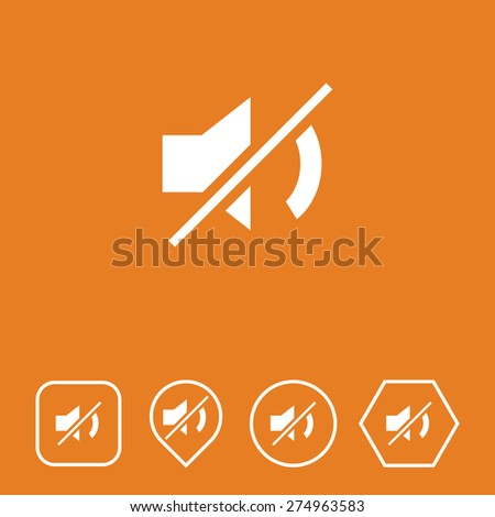 Mute Icon on Flat UI Colors with Different Shapes. Eps-10. - stock vector