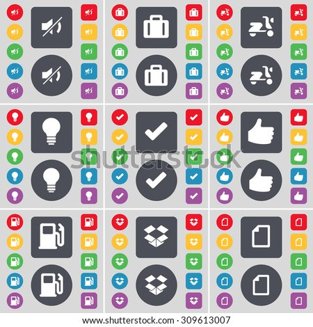 Mute, Suitcase, Scooter, Lightbulb, Tick, Like, Gas station, Dropbox, File icon symbol. A large set of flat, colored buttons for your design. Vector illustration - stock vector