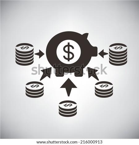 mutual fund, multi channel income - stock vector