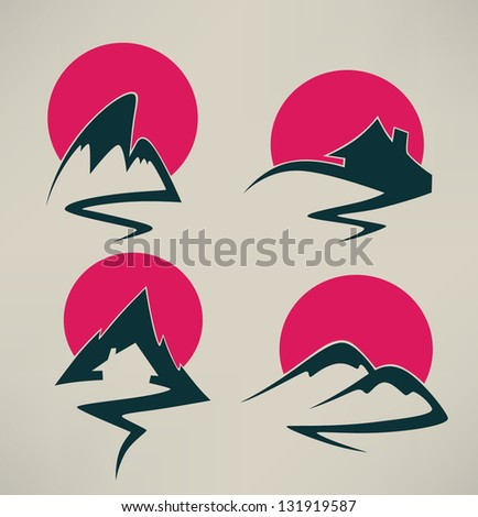 my home in high mountains, property and nature symbols - stock vector