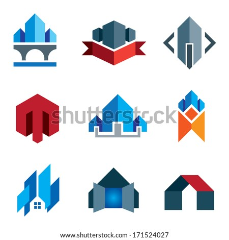My new age generation - historic virtual building construction logo architecture company label and creation of 21st century business smart house or family home icon set - stock vector