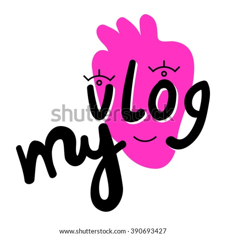 My vlog modern button with face on strawberry - stock vector