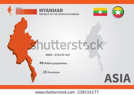 Myanmar. flag. Asia. World Map. vector Illustration. - stock vector