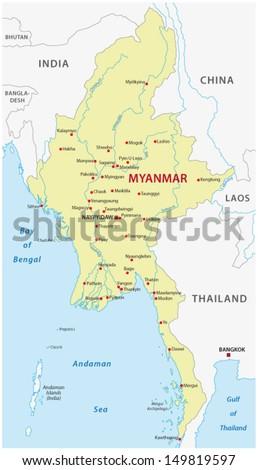 myanmar map - stock vector