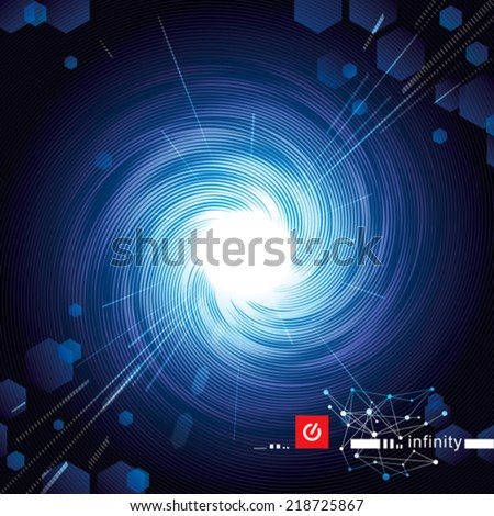 Mysterious blue vortex technology abstract background. Vector. - stock vector
