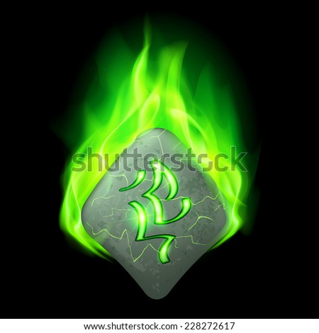 Mysterious rough stone with magic rune burning in green flame - stock vector