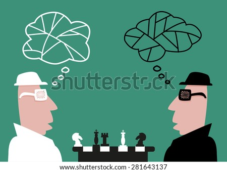 Mystery Men in Black and White Clothes Playing Chess - stock vector