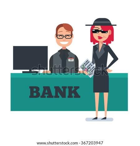 Mystery shopper woman in spy coat checks bank - stock vector