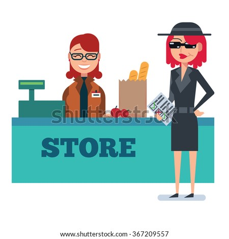 Mystery shopper woman in spy coat checks grocery store - stock vector