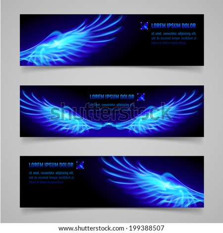 Mystic banners with blue flaming wings for your design  - stock vector
