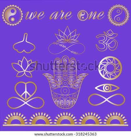 Mystic spiritual symbols, Yoga logo, yoga icons, gold lines tattoo set: Ohm sign, Buddha hand, Ying Yang symbol, Lotus flower, Infinity sign, Peace and love symbol, Ginkgo leaf Metallic gold lines - stock vector