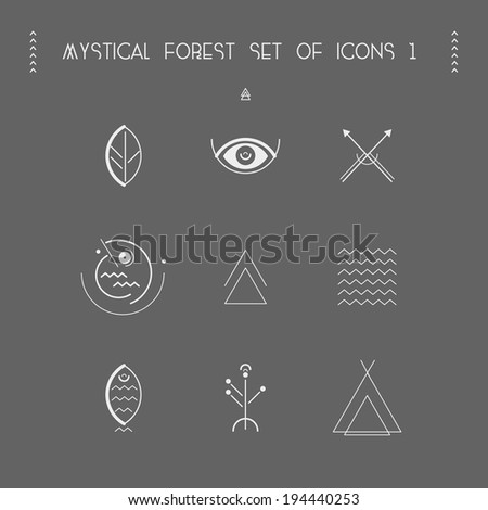 Mystical forest set of icons (hike) - stock vector
