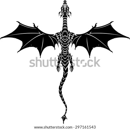 Mythical Dragon Tattoo - stock vector