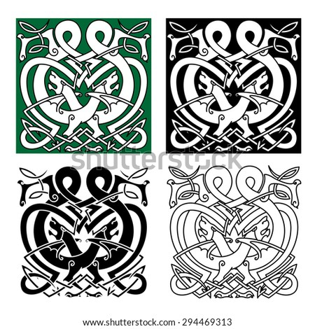 Mythical totem animal celtic ornaments with fighting dragons, decorated by tribal elements and traditional knot tracery for art, tattoo or heraldry design - stock vector