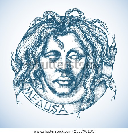 Mythological Medusa portrait with snakes in place of hair sketch - stock vector