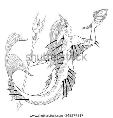 Mythological Neptune or Poseidon with trident and horn in hand isolated on white background. God of freshwater and the sea. The series of mythological creatures - stock vector