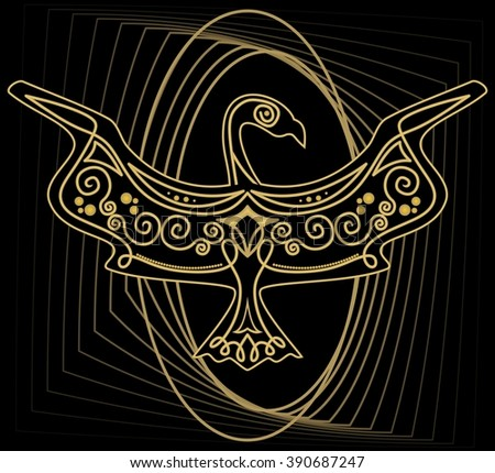 Mythological ornamental bird silhouette, tribal symmetric drawing on black background with gold curves - stock vector
