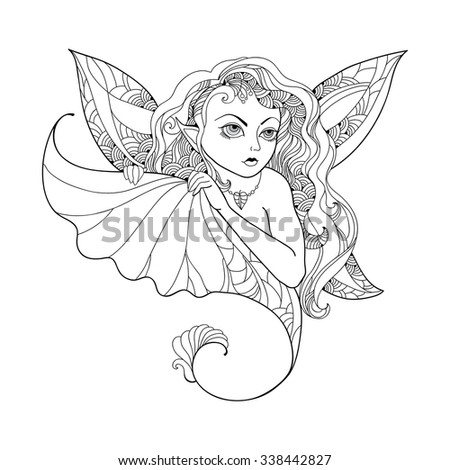 Mythological Pixie or Forest Fairy with wings and leaf in his hand isolated on white background. The series of mythological creatures - stock vector