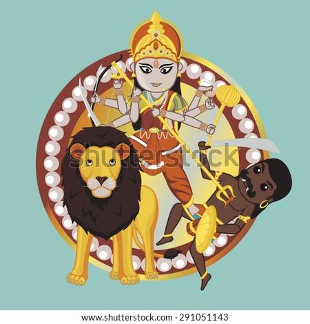 Mythology Indian Goddess â?? Durga Mata - stock vector