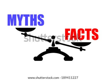 Myths vs facts icon - stock vector