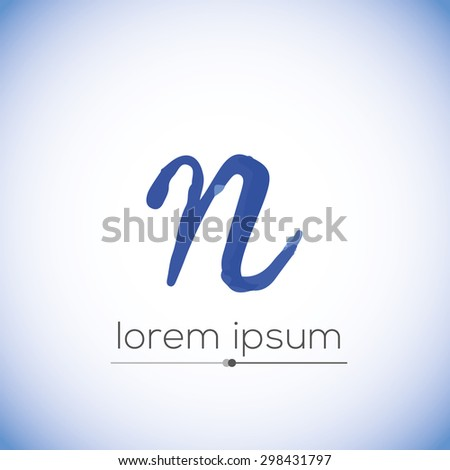 N letter calligraphic hand drawn vector logo (sign, symbol, icon) - stock vector