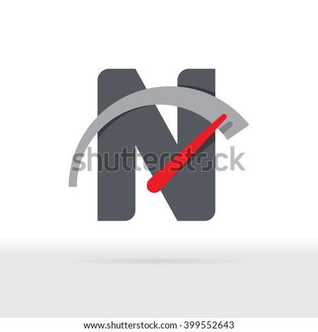 N Letter Car Speedometer, B Letter Meter Logo - stock vector