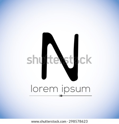 N letter-  hand drawn stencil logo (sign, symbol, icon, illustration)  - stock vector