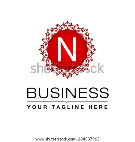 Logo With Red n n Letter Red Luxury Logo