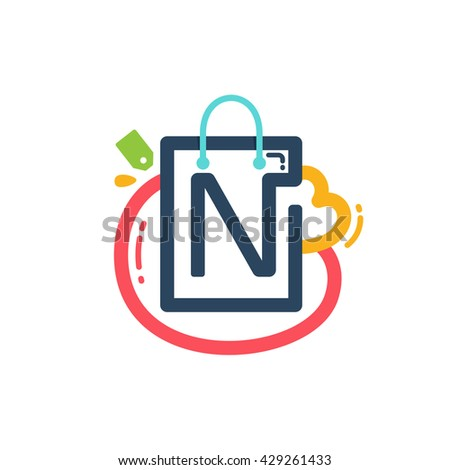 N letter with shopping bag and tag icon. Vector design element for tag, card, corporate identity, label or poster. - stock vector