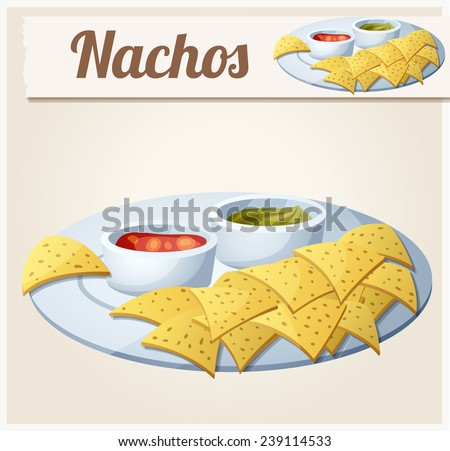Nachos (Tortilla Chips). Detailed Vector Icon. Series of food and drink and ingredients for cooking. - stock vector