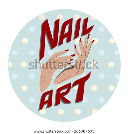 Nail art label - stock vector