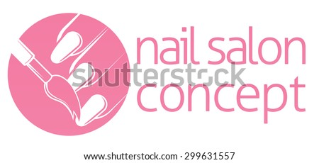 Nail bar, nail technician or salon manicurist concept of a nail being painted with a brush - stock vector