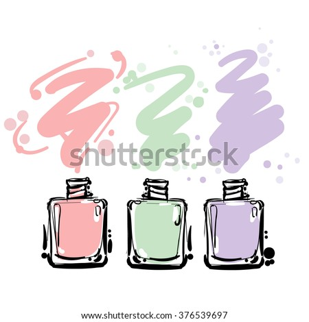 Nail polish colorful  jars, vector illustration - stock vector