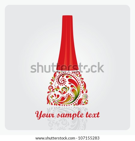 Nail polish made ??from the leaf pattern. Vector EPS10 illustration. - stock vector