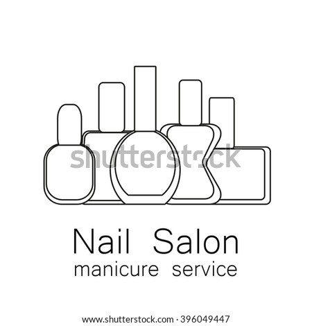 Nail Salon logo. Vector nail polish logo. Symbol of manicure. Simple linear nail polishes on a white background. Cosmetic label. Vector illustration. - stock vector