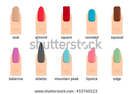 Nail shape icons. Types of fashion nail shapes. Vector illustration - stock vector