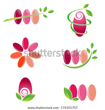 Nail Spa Design Set With Green Leaves Over White Background - stock vector