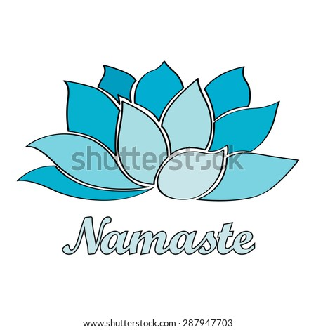 namaste. Lotus flower. vector illustration for design yoga studio - stock vector