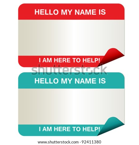 Name tags that say my name is... in red and green. - stock vector