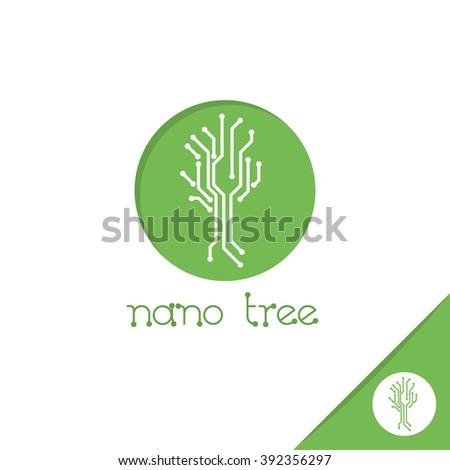 Nano tree logo. Nanotechnology logo design template.  - stock vector