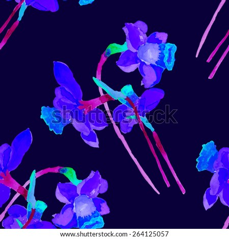 Narcissus seamless pattern.Watercolor pattern. Hand drawn. - stock vector