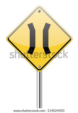 Narrow Bridge sign isolated on white - stock vector