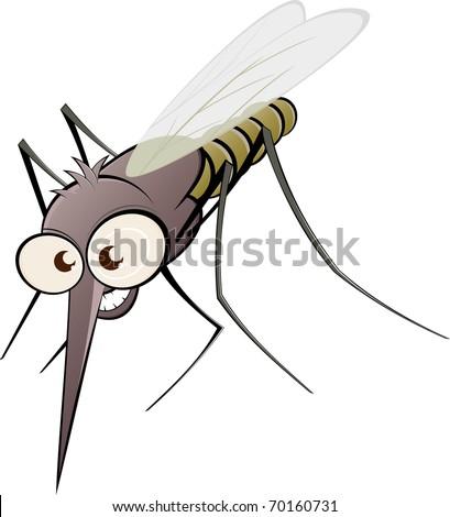 nasty cartoon mosquito - stock vector