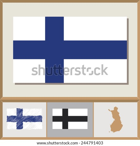 National flag and country silhouette of Finland - stock vector