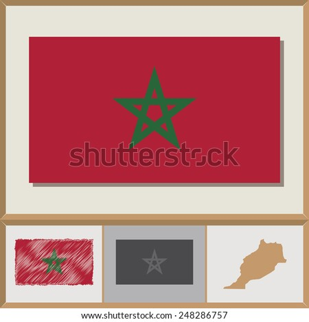 National flag and country silhouette of Morocco - stock vector