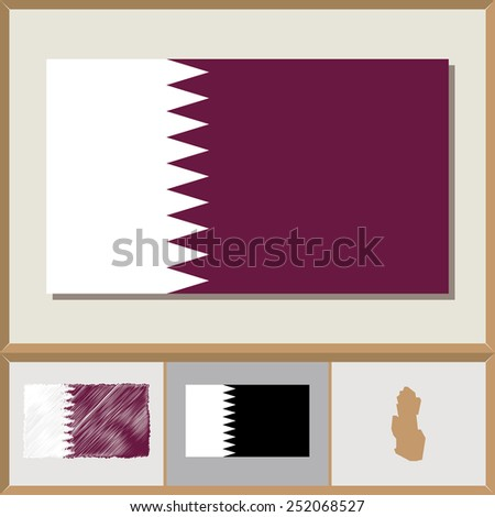 National flag and country silhouette of Qatar - stock vector